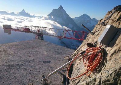 5 Telejointmeter überwachen die Baustelle am Klein Matterhorn.