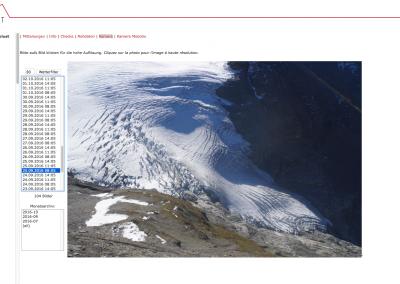 Bild des Giétro-Gletschers durch eine hochauflösenden Kamera im online Datenportal.