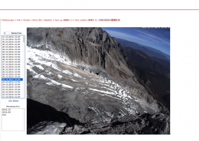 Ansicht des Yulong Gletschers in China im online Datenportal.