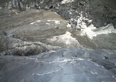 View of the entrance to the flood relief tunnel at Grindelwald glacier.