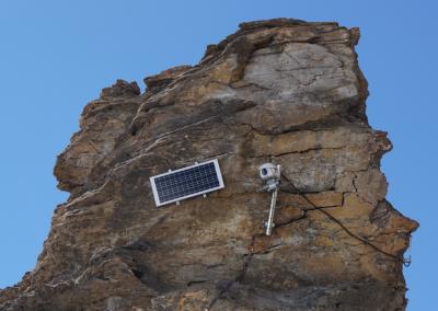 Installation der hochauflösenden Kamera am Giétro-Gletscher.