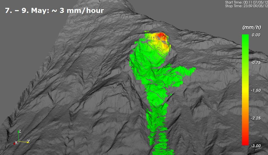 Die sich bewegende Felspartie umfasste ein Gebiet von 200 x 100 m.