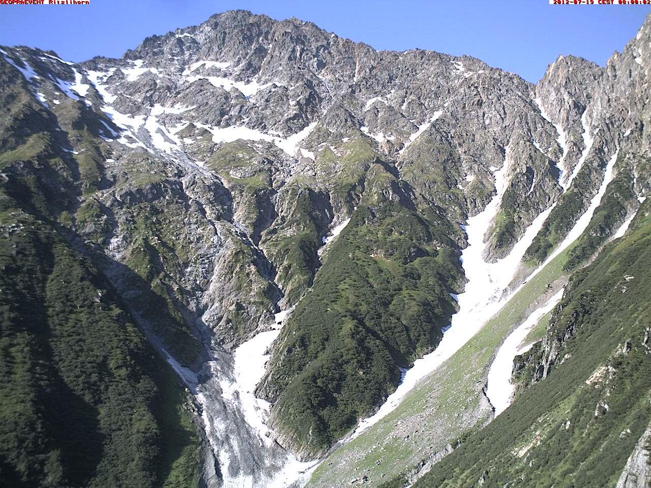 Webcam: Bilder vom Anrissgebiet der Murgänge in der Nordflanke des Ritzlihorns.