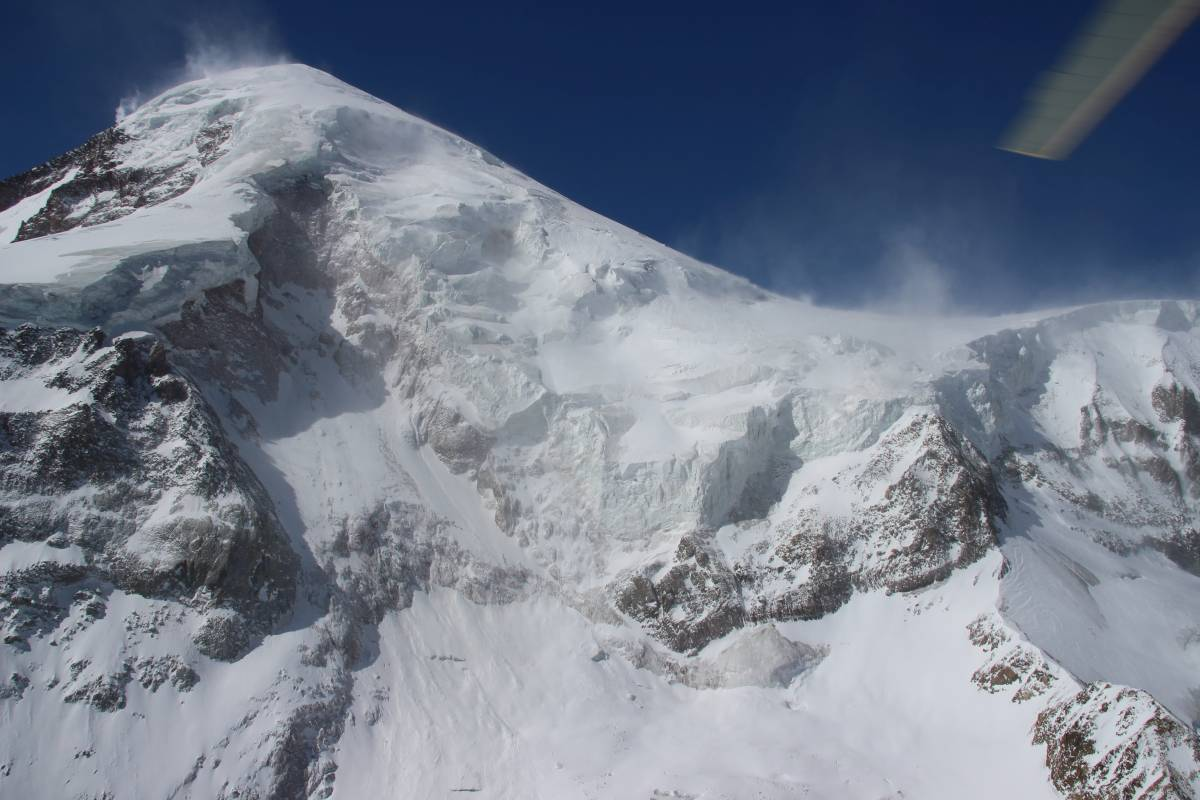 View up towards the glacier on Mt. Kazbek where a large portion of ice failed in 2014.