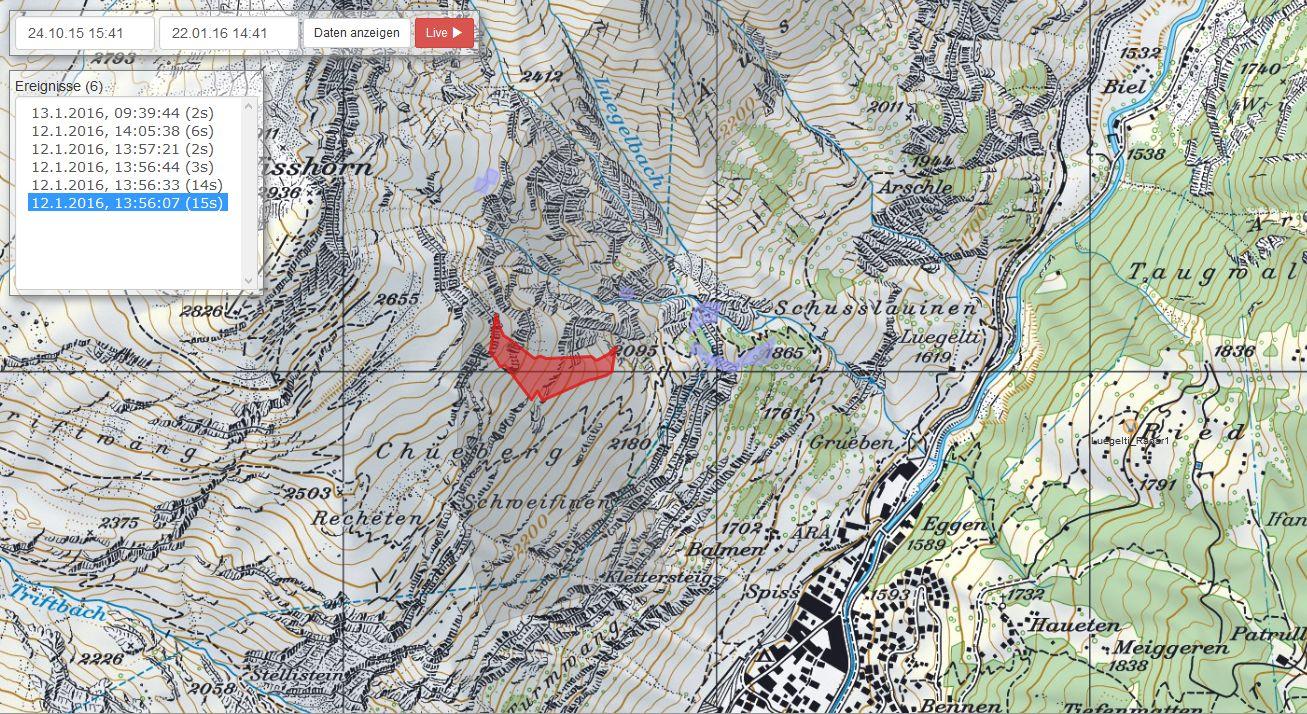 Die detektierten Lawinen werden automatisch kartiert und können online auf einer Karte dargestellt werden.