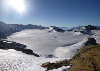 Der Plateaugletscher Plaine Morte in den Berner Alpen.