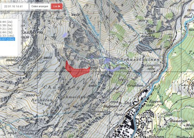 Detected avalanches are automatically mapped and can be overlaid on Swiss topo maps online.