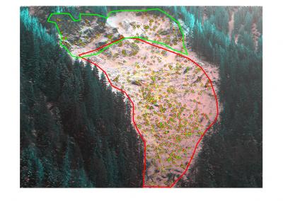 Messungen im Val Parghera: die Geschwindigkeit des Murgangs wurde durch Kamerabilder analysiert. Geschwindigkeiten von 20cm bis 2m pro Tag wurden registriert.