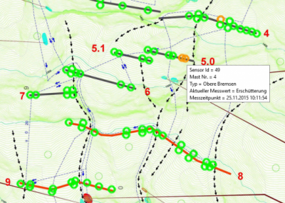 Visualization on the data portal: Each circle represents one sensor. In total, 14 nets spanning a length of roughly 1200m were fitted with the monitoring system. Green circles indicate normal functionality. If a sensor has detected rock fall, it shows up red. Users can also check on the quality of the connection to the base station, the battery status and the inclination of the sensor compared to the inclination at installation. The data automatically shows up when the cursor is on a circle.