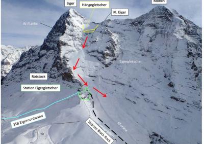 Sturzbahn einer Lawine, ausgelöst durch einen Gletscherabbruch. Bei einem grösseren Gletscherabbruch liegt die Bahnstation Eigergletscher im Gefahrengebiet.