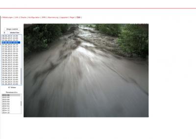Zusätzlich können die Webcam-Bilder für sämtliche vergangene Ereignisse separat aufgerufen werden.
