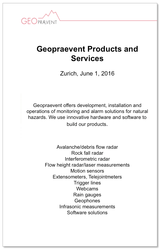 Geopraevent products and services
