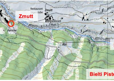 Übersicht der Personenradar-Standorte. Die Standorte Zmutt, Bietli Strasse und Piste werden auf den Winter 2016/17 hinzugefügt.