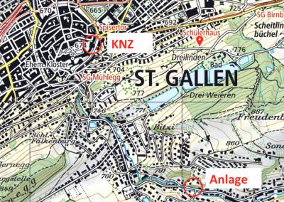 Lageplan der KNZ und der Überwachungsanlage.
