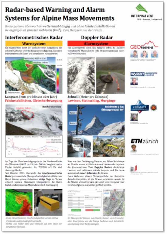 radar-based warning and alarm systems for alpine mass movements