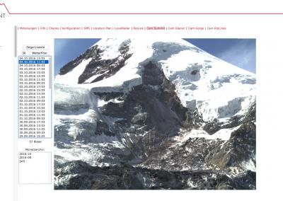 En el portal de datos de Geopraevent, los usuarios autorizados siempre pueden ver las imágenes más recientes de la zona de ruptura de la avalancha de hielo de 2014.