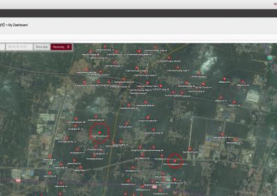 Im online Datenportal werden die Messstationen dargestellt. Aktuelle Datenveränderungen werden live (rote Kreise) angezeigt.