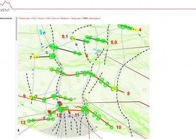 Darstellung im Datenportal: Jeder Kreis steht für einen Sensor. Grüne Kreise bedeuten Normalzustand. Hat ein Sensor ein Ereignis detektiert, erscheint er rot. In der gleichen Darstellung kann auch die Veränderung der Sensorlage (Verkippung) im Vergleich zum Installationszustand überprüft werden, sowie die Qualität der Funkverbindung und der Batteriezustand. Fährt man mit dem Mauszeiger über die Kreise, werden aktuelle Daten zum ausgewählten Sensor angezeigt.