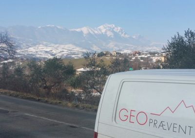 In the background the Gran Sasso mountain is visible where the avalanche occurred.