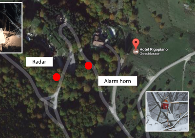 Overview of the avalanche alarm system with radar and horn (foto: Google).