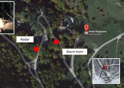 Übersicht mit Lawinenradar und Alarmhorn (Karte: Google).