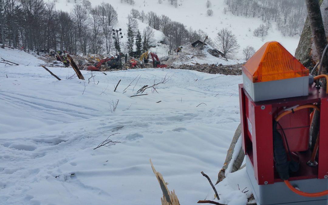 Sistema de alarma de avalanchas en Rigopiano, Italia