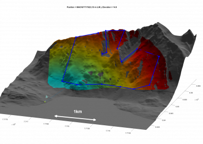 Almost the whole mountain slope (4 km2) is monitored with one radar. Colors indicate distance.