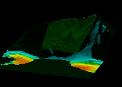 Computersimulationen ergaben zwei geeignete Bereiche mit guter Sichtbarkeit des Radars auf den Hang.