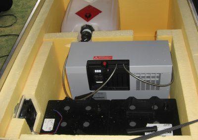 Eine Brennstoffzelle wird winterfest verpackt.