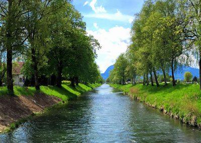 Der Rheintaler Binnenkanal erstreckt sich von Sennwald bis nach St. Margrethen.
