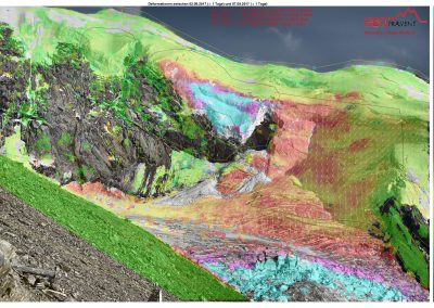 Deformation analysis of the Weissmies glacier shortly before the collapse of the unstable glacier area.