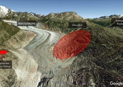 Das Rutschgebiet Moosfluh am oberhalb des Aletschgletschers wird mit der HD-Kamera von der Gegenseite aus überwacht.