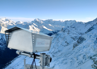 One deformation camera is positioned at the glacier cliff and…