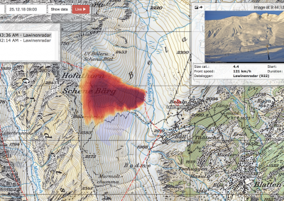 The online data portal displays the avalanche on an area map along with the measured characteristics and a photo series.