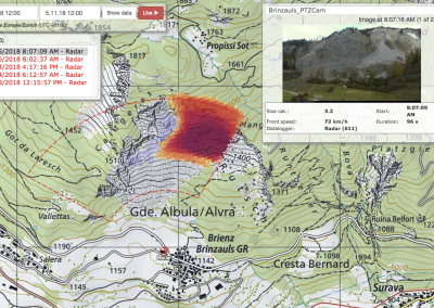 Online data portal: Rockfall map of the selected time period and corresponding image series of the integrated webcam.