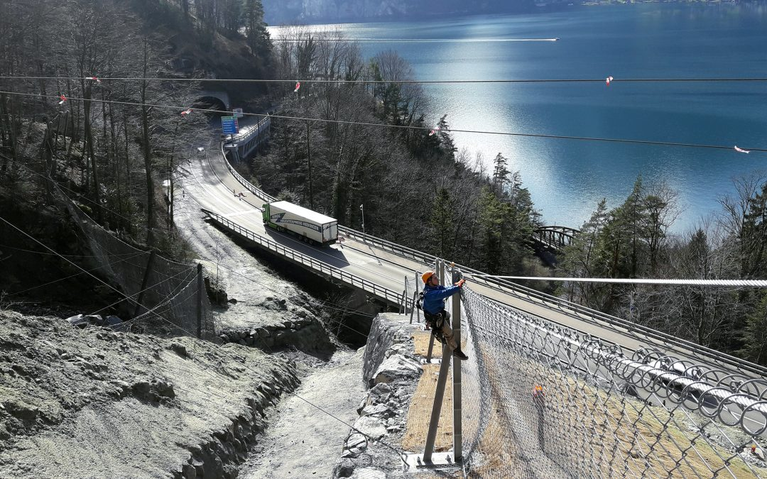 Innovative and worldwide unique rockfall alarm system monitors Axenstrasse
